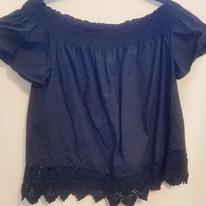 cotton blouse with lace detail